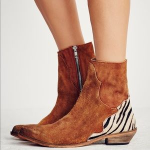 [Free People] 'Last Outlaw' Suede/Calf-hair Bootie